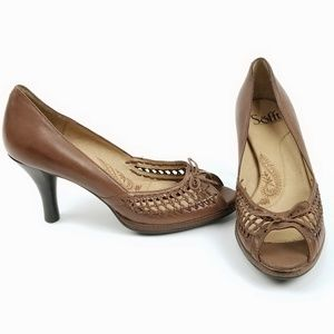 Sofft Leather High Heel Pump Peep Toe Woven EC74